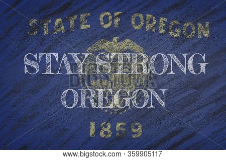 Covid-19 Warning. Quarantine Zone Covid 19 On Oregon ,flag Illustration. Coronavirus Danger Area, Qu