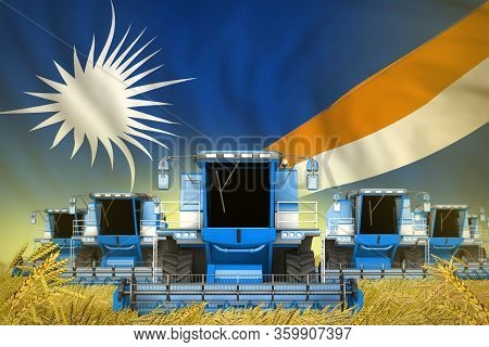 Industrial 3d Illustration Of Some Blue Farming Combine Harvesters On Grain Field With Marshall Isla