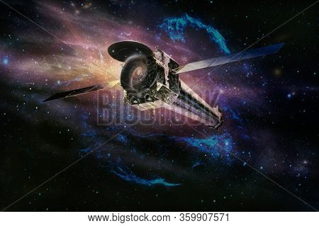 Spaceship In Deep Space, Spacecraft Flying Through The Universe, For Futuristic Deep Space Travel Or