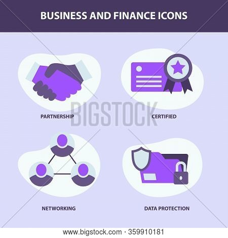 Business Set Collection With 4 Objects Icon With Modern Flat Style Fluid Background Shape And Purple