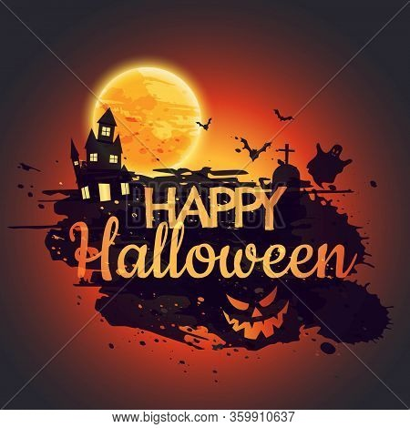 Happy Halloween Poster With Creepy Castle Vector Design Illustration