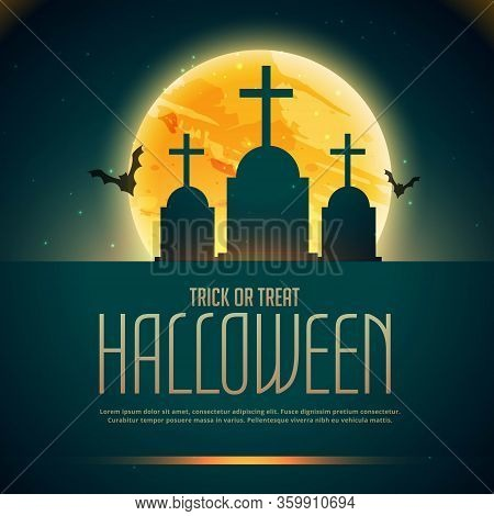 Creepy Halloween Poster With Grave And Flying Bats Vector Design Illustration