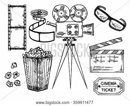 Cinema And Making Films Hand Drawn Set With Clapper Reel Camera, Movie Ticket And Popcorn Isolated O