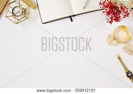 Blogging Concept. Stylish Feminine Workplace With Luxury Golden Lipstick, Clips, Watch, Parfume, Env