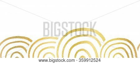Abstract Metallic Golden Foil Seamless Vector Border Hand Drawn Circle Shapes. Repeating Gold Patter