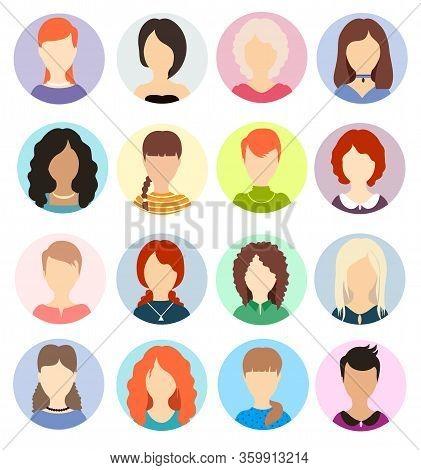 Women Faceless Avatars. Human Anonymous Portraits, Woman Round Vector Profile Avatar Icons, Website