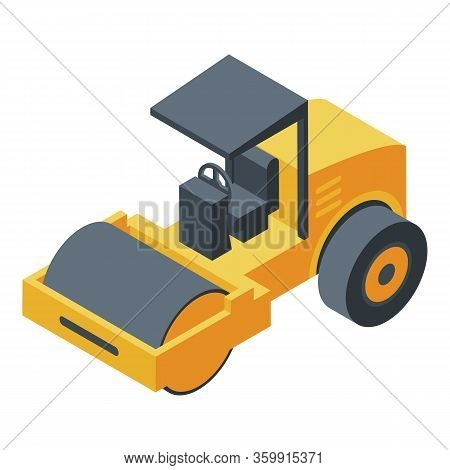 Steamroller Machine Icon. Isometric Of Steamroller Machine Vector Icon For Web Design Isolated On Wh