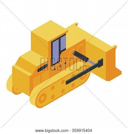 Bulldozer Tractor Icon. Isometric Of Bulldozer Tractor Vector Icon For Web Design Isolated On White