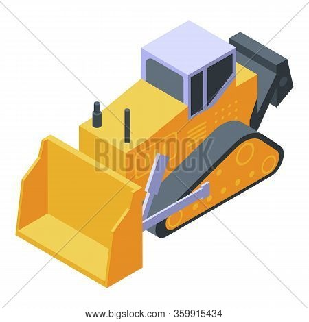 Tractor With Blade Icon. Isometric Of Tractor With Blade Vector Icon For Web Design Isolated On Whit