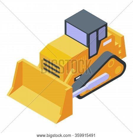 Dozer Bulldozer Icon. Isometric Of Dozer Bulldozer Vector Icon For Web Design Isolated On White Back