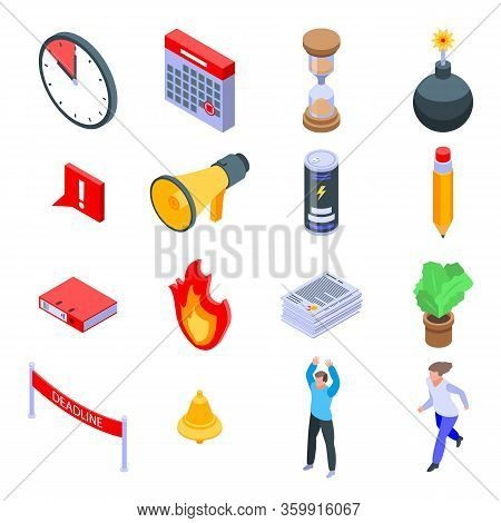 Deadline Icons Set. Isometric Set Of Deadline Vector Icons For Web Design Isolated On White Backgrou