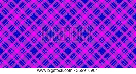 Wide Checkered Horizontal Seamless Pattern. Blue And Fuchsia Trend Color Diagonal Striped Background