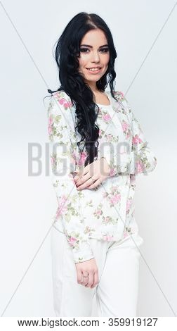 Sexy Woman In White Cardigan With Flowery Pattern