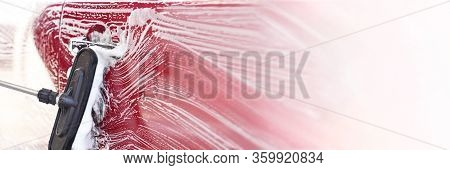 Red Car Washed In Self Serve Carwash , Detail On Brush Leaving Strokes On Side Door, Wide Banner Wit