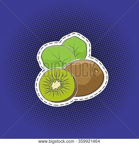 Tropical Fruit Kiwifruit Sticker On A Purple Violet Pop Art Halftone Background, Black Dots In The F
