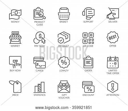 Icons Set Shopping, E-commerce, Online Store Category