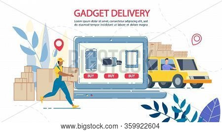 Electronic Gadgets Internet Shop With Delivery Online Service. Loader Putting Packages On Truck. Tar