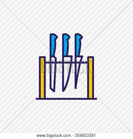 Illustration Of Knife Set Icon Colored Line. Beautiful Cutlery Element Also Can Be Used As Flatware