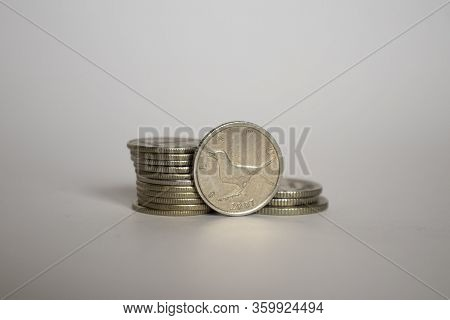 Coin Slavuj. Croatian Kuna Stands Upright With Coins Lying Next To Each Other. Coins On A White Back