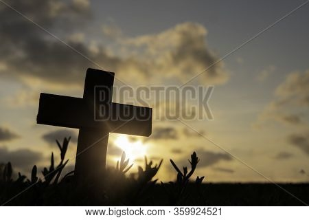 Silhouette Jesus Christdeathon Cross Crucifixion On Calvary Hill In Sunset Good Friday Risen In Ea
