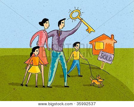 Family Standing In Front Of A House With Sold Sign; Father Holding The Key