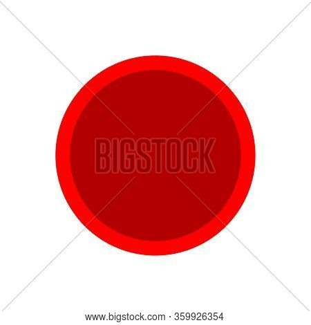 Button Circle Shape Red For Buttons Games Play Isolated On White, Simple Red Buttons Circle Flat, Ro