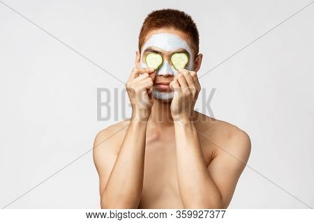 Beauty, Skincare And Spa Concept. Portrait Of Funny Handsome Asian Man Standing Naked Over White Bac