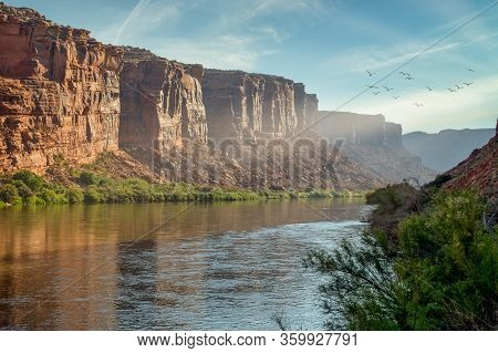 Sunrise In The River Canyon In The Desert