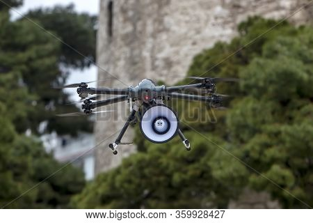 Drone With Recorded Message Informs Citizens Of Thessaloniki To Stay Home To Be Protected From The C