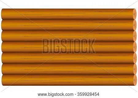 Background In The Form Of Wooden Logs, Brown, For The Design Of Web Pages And House Interest.