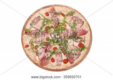 Pizza Italy On A Wooden Platter. Isolated On White. Italian Pizza Italy With Bacon, Prosciutto, Mozz