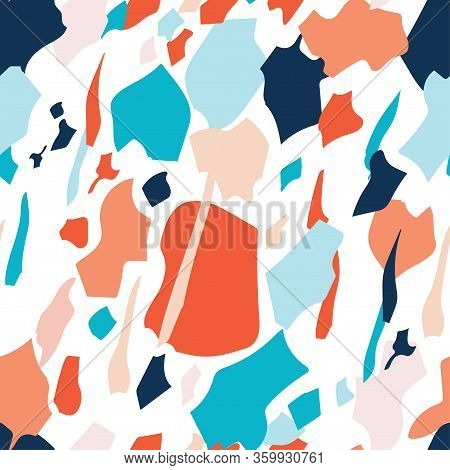Seamless Terrazzo Pattern. Vector Repeating Background Inspired By Terrazzo Or Granite Textures.