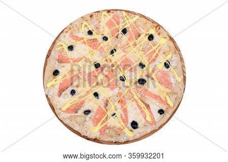 Pizza Salmon On A Wooden Platter. Isolated On White. Italian Pizza Salmon With Salmon, Mozzarella, P