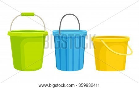 Cleaning Equipment With Different Buckets Isolated On White Background Vector Set