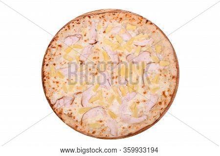 Pizza Hawaiian On A Wooden Platter. Isolated On White. Italian Pizza Hawaiian With Smoked Chicken Fi