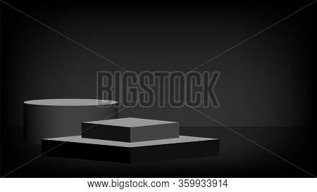 Stage Pedestal Award 3d Black Grey, Podium Stage Show For Victory Champion Position, Pedestal Ellips