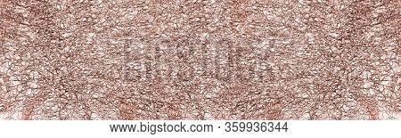 Crumpled Foil Copper Color Wide Texture. Shiny Metal Textured Background