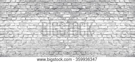 White Washed Old Shabby Brick Wall Wide Texture. Large Light Gray Rustic Brickwork. Whitewashed Wide