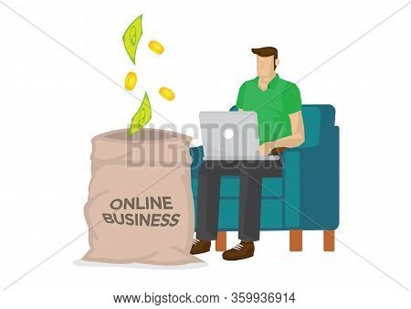Young Man Working At Home Office With Money Coming Into A Giant Sack. Concept Of Online Merchant, En
