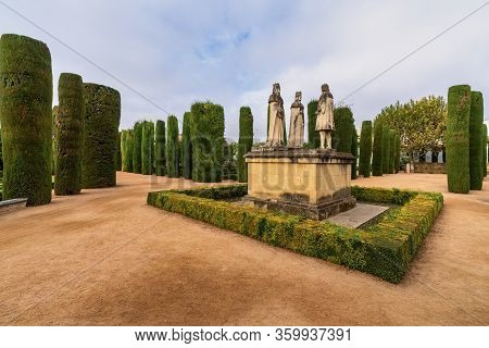 Cordoba, Spain - October 31, 2019: View Of The Gardens Of The Alcazar Of The Christian Monarchs, Alc