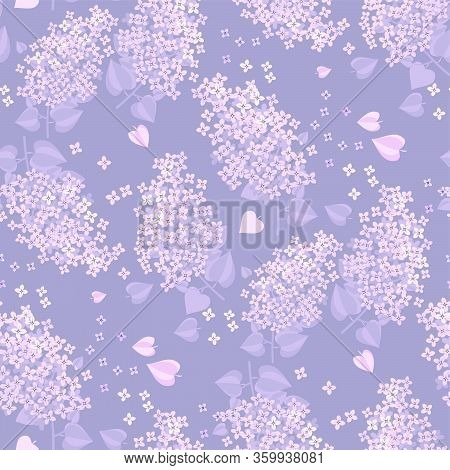 Tender Spring Lilac Blossom Twigs Seamless Pattern