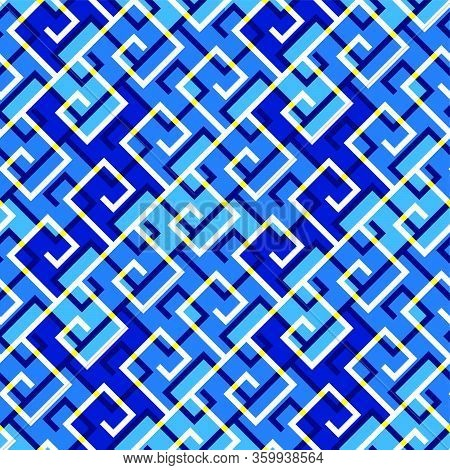 Blue Sea Wave Abstract Ornamental Seamless Pattern