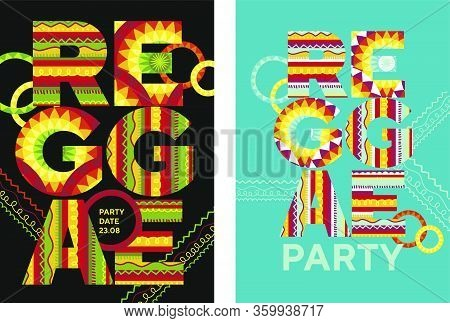 Reggae Music Poster With Huge Letters For Card, Invitation, Poster, Social Media, Post Publication.