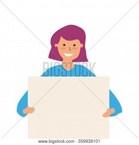 Beautiful Young Woman Holding Blank Banner, Promotion, Advertising Or Peace Protest Concept. Vector