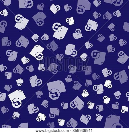 White Music Book With Note Icon Isolated Seamless Pattern On Blue Background. Music Sheet With Note