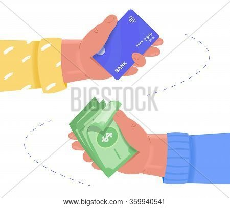 Online Payment, Exchange Concept. Human Hands Hold Plastic Card And Dollar Money. Money Transfer. Ve