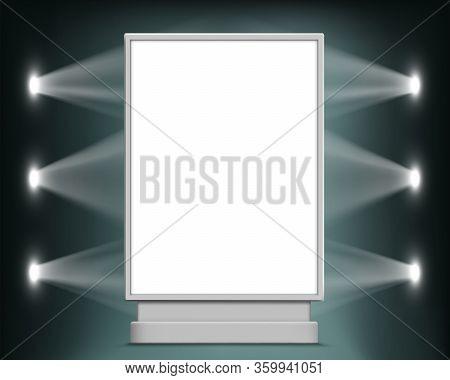 Street White Billboard Template. Advertising Blank Lightbox. Vertical Format. Vector Background