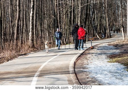 Moscow, Russia 22 February 2020: People Walking In Izmailovsky Park. Men Running With Dog. Leasure A
