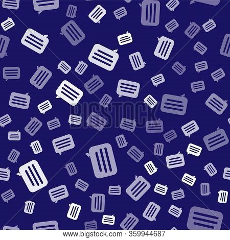 White Speech Bubble Chat Icon Isolated Seamless Pattern On Blue Background. Message Icon. Communicat