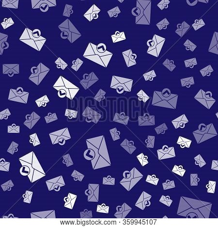 White Envelope And Check Mark Icon Isolated Seamless Pattern On Blue Background. Successful E-mail D